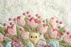 close up, Spring has Sprung, applique wall hanging pattern by Cori Blunt | Chitter Chatter Designs baby quilts, babi quilt, 3d quilt, appliqu wall, applique quilt designs, flower