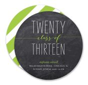 Class of Twenty Thirteen Lime Chalkboard Circle Invitation