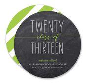Class of Twenty Thirteen Lime Chalkboard Circle Invitation