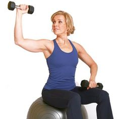 Start sitting with your arm bent in a 90-degree angle to the side, upper arm parallel to the ground. Without changing the bend in your arm, slowly lower the weight forward to 90 degrees and return to top. Perform 12-15 repetitions with light weights and repeat on the other side.