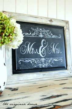 Chalkboard Handpainted Wedding or Home Decor Sign Mr. & Mrs. via Etsy