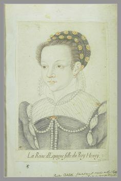 Portrait d'Elisabeth de France, reine d'Espagne. ANONYME FRANCAIS XVIè s. Ecole française