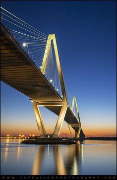 Sunset in Arthur Ravenel Jr. Bridge, Charleston, South Carolina