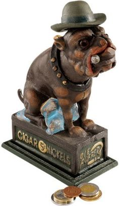 8.5 Antique Replica English Bulldog Authentic Foundry Cast Iron Mechanical Bank  Price : $37.95 http://www.xoticbrands.net/Antique-Replica-English-Authentic-Mechanical/dp/B004V0941G