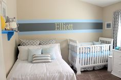 Blue and Gray Nursery with Bed