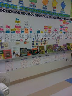 First Grade Glitter and Giggles: classroom Word wall organization- names below,words on top
