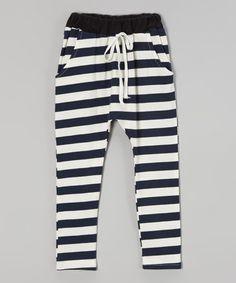 Navy Stripe Warm-Up Pants