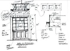 Pen & ink sketch for built-in dry bar.  Client: Jeff & Rebecca Tapick  (Houston, TX)  (drawing by Irini Kotelou)
