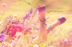☼ Here Comes The Sun ☼ kiss, fashion, dreams, colors, violet, espadrilles, flowers, shoe, fields