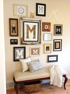 "Gallery Wall using Letters — 9th I love the ""m"" . So fitting for my family"