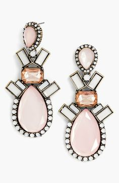 Pretty! Pink drop earrings by BaubleBar.