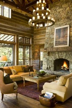 Great Point Lodge | Miller Architects...love the chandelier