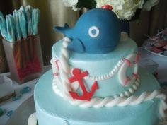 cake, baby neutral, nautical baby shower, boy/girl theme, sea shower ...