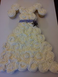 Bride pull apart cupcake cake - there are tiny beads and crystal sugar on the dress, but you can't tell from the photo!