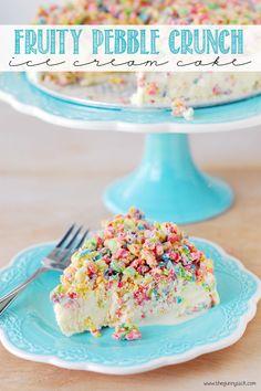 Fruity Pebble Crunch Ice Cream Cake