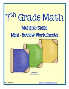 This 10 skill review was created for 7th grade Pre Algebra students, but would be a great review for any middle school math classroom! Skills covered are Data, Integers, Fractions, Rational Numbers, Probability, Equations, Functions, Area, Surface Area, Powers, Square Roots, Ratios, Proportions, Percents and Scale. An answer key is included for each page.