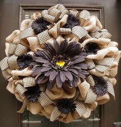XXL Burlap Door Wreath, Summer Wreaths, Daisy Wreath, Burlap Wreath Fall, Country Wreaths, Black and Tan, Fall Wreaths