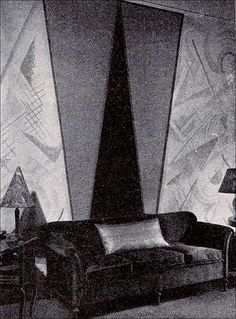 Early Art Deco wall painting, American Builder magazine, 1926