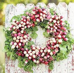 decor, idea, craft, radishes, radish wreath, garden, flower, wreaths, parti