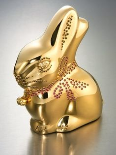 Made to look like Lindt's iconic Easter treat, this bunny, worth more than $35,000, is not the kind you eat. Instead of chocolate, it is made of solid 24-karat gold inlaid with diamonds, rubies, citrine and topaz.