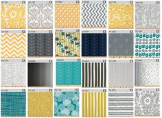 Fabric swatches from Fabric.com - finally narrowed down my top choices! Aqua/teal, grey and mustard are the main colors.