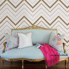 Chevron Bold Gold Peel & Stick Fabric Wallpaper by AccentuWall