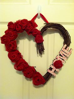 Valentine Heart wreath heart with Red Burlap Roses
