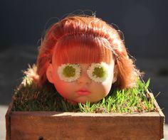 Doll head decor for halloween garden