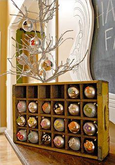 holiday, trees, adventcalendar, display, number, old crates, ornaments, diy christmas, christmas advent calendars