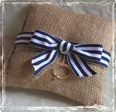 Burlap ring bearer pillow with navy blue striped ribbon...HOW ADORABLE!!!