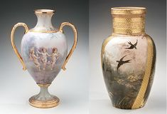 """RIGHT: Maria Longworth Nichols for Rookwood Pottery, Cincinnati, Ohio. """"Oriental"""" vase, 1883. Earthenware with underglaze slip decoration. H. 20-1/2, Diam. 10-1/2 in. Marked: impressed on bottom, kiln-shaped stamp, G (ginger clay), ROOKWOOD / 1883. Purchase 1985 Mathilde Oestrich Bequest Fund and Eva Walter Kahn Bequest Fund (85.281)."""