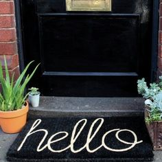 Black Hello Doormat | Relax Home Decor