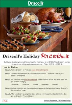 Driscoll's Holiday Pin it to Win it Sweepstakes www.driscolls.com