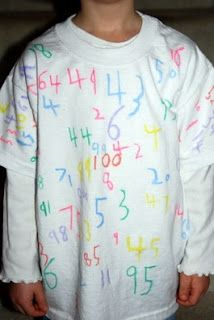 100th day of school project;  the 1-100 t-shirt!!