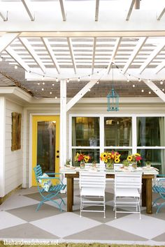 great outdoor space. (pergola would help a home with no back porch.)
