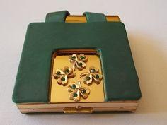 Paul Flato Shamrock  Art Deco Compact Lipstick Holder-Green Stones