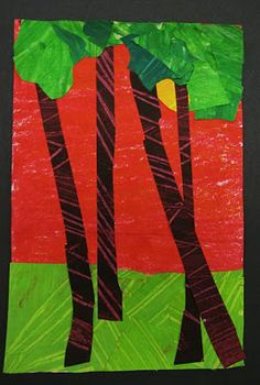 collage trees collage trees, collag tree, landscap collag, tree trunks, art lesson, paper landscap, elementari art, cut paper, dali moustach