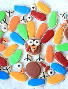 Mr. Turkey cookies- just like Mr. Potato Head...you put the pieces together