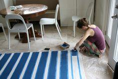 rug patterns, dana diy, stripe rug, hous tweak, laundry rooms, floor rugs, paint rug, diy rugs, diy stripe