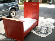 Door Repurposed into a Toddler Bed by myrepurposedlife #Bed #Door #DIY #myrepurposedlife