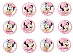 Baby Minnie Mouse 1st Birthday or Baby Shower cupcake toppers/stickers/favour tags