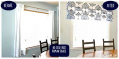 Stenciled No Sew Faux Roman Shade for Dining Room