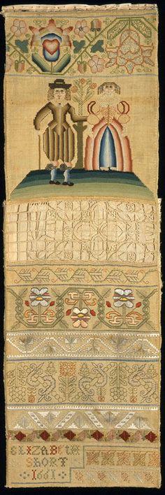 Band Sampler, English, Elizabeth Short, 1661