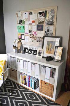 So organized! decor, idea, bulletin boards, inspiration boards, cork boards, bookcas, home offices, color scheme, room
