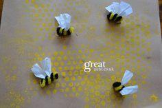 bubble bees crafts, bubbl wrap, bubble wrap painting