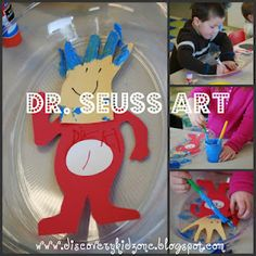 Dr. Seuss the Cat in the Hat activities -- including this Thing 1/2 art project