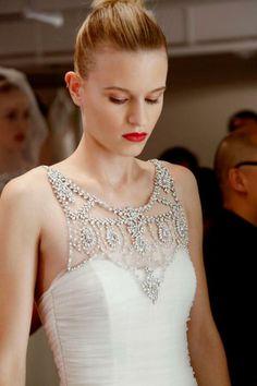 "Who needs jewelry when you have a hand beaded crystal neckline like this? Amsale ""Sloane"" dress. Photo via @Fashionising .com .com"