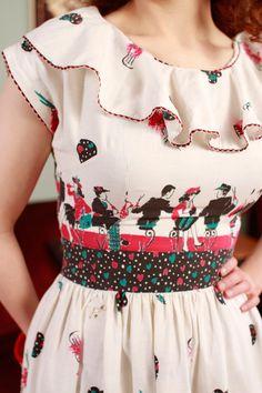 RESERVED on Layaway - Vintage 1940s Dress  - Rare Soda Fountain Teen Dream Novelty Print Cotton Sun Dress - Malt Shoppe on Etsy, Sold