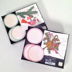 vintage 1960s mod Christmas napkin and coaster sets by forrestinavintage, $12.00