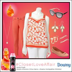 This Feisty Fresh look was inspired by Downy Infusions Citrus Spice and Downy Unstopables Shimmer. The bright coral combo will encourage you to shine through any grey day. To shop this look, visit the LC Lauren Conrad collection available only at Kohl's. To register for the #ClosetLoveAffair sweepstakes visit https://downy.promo.eprize.com/pinterest/.